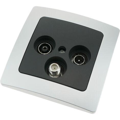 BeMatik - Base con toma TV / SAT / R empotrable con marco 80x80mm serie Lille de color plata y gris