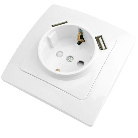 BeMatik - Base de enchufe schuko con USB 2 x A hembra 80x80mm Lille para empotrar blanco