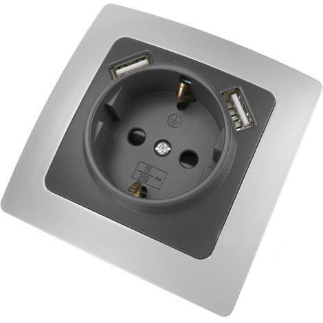 BeMatik - Base de enchufe schuko con USB 2 x A hembra 80x80mm Lille para empotrar plata y gris