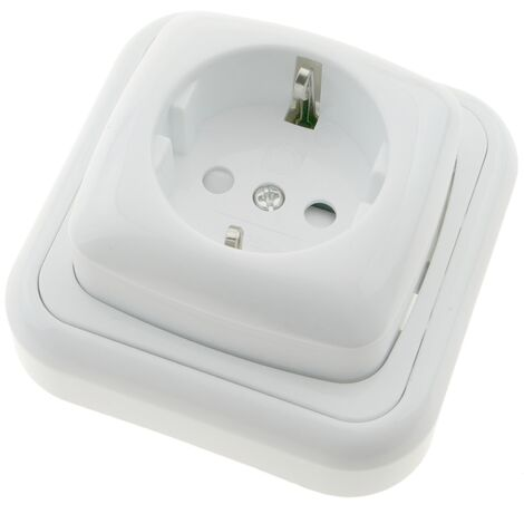 BeMatik - Base de enchufe schuko de superficie con marco 80x80mm de color blanco