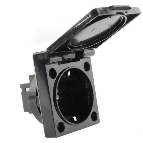 BeMatik - Base de enchufe schuko empotrable IP44 a tornillo con tapa de color negro