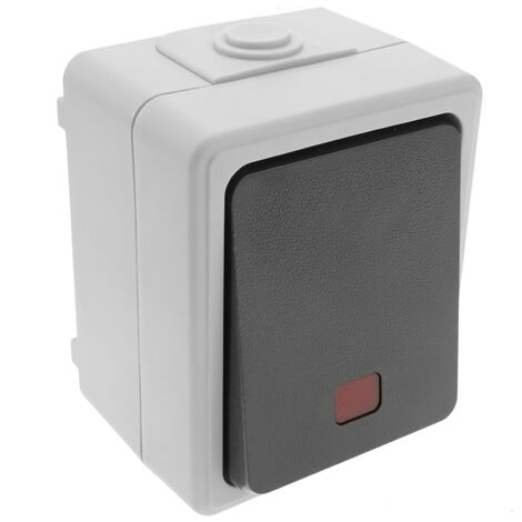 BeMatik - Base de superficie estanca IP54 10A 250V con interruptor conmutador LED