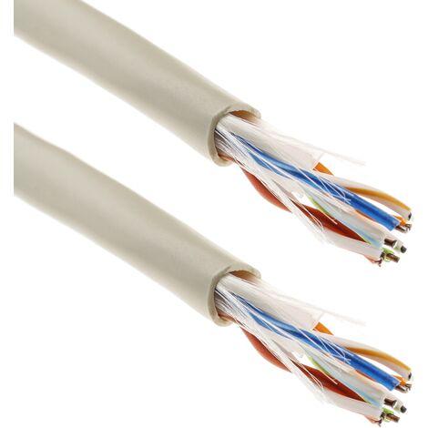 BeMatik - Bobina de cable de red LAN UTP categoría cat.6 24AWG CCA rígido gris 305m