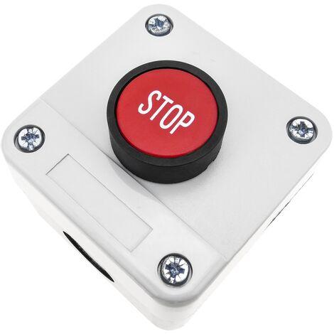 BeMatik - Boîte de commande avec 1 bouton poussoir momentanés rouge 1NO STOP