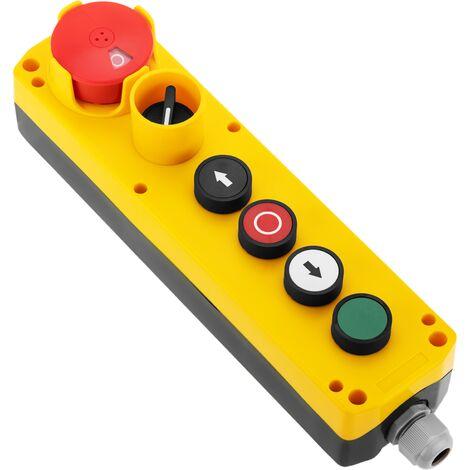 BeMatik - Boîte de commande avec 4 boutons poussoirs momentanés et arrêt d'urgence et commutateur série LAY5