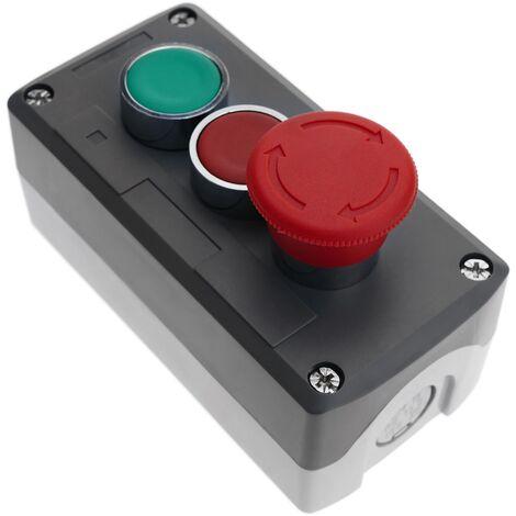 """main image of """"BeMatik - Boîtier de commande avec deux bouton poussoir momentané 22mm 1NO 1NC 400V 10A avec l'arret d'urgence"""""""