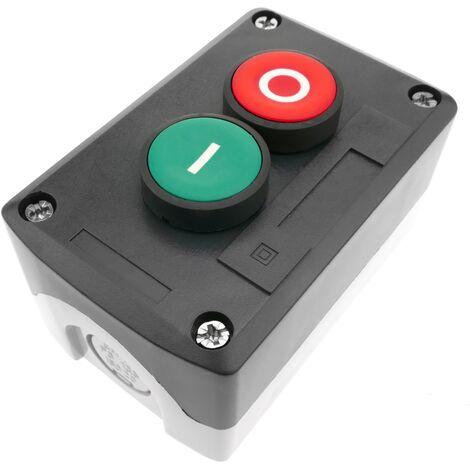 BeMatik - Boîtier de commande gris/noir avec 2 boutons poussoirs momentanés vert 1NO rouge 1NF avec symboles