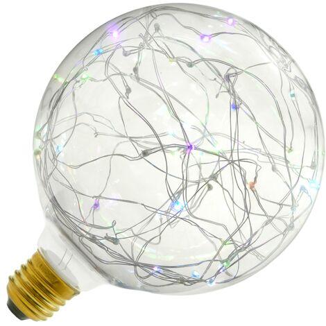 BeMatik - Bombilla LED fantasía G125 1.4W luz RGB variable