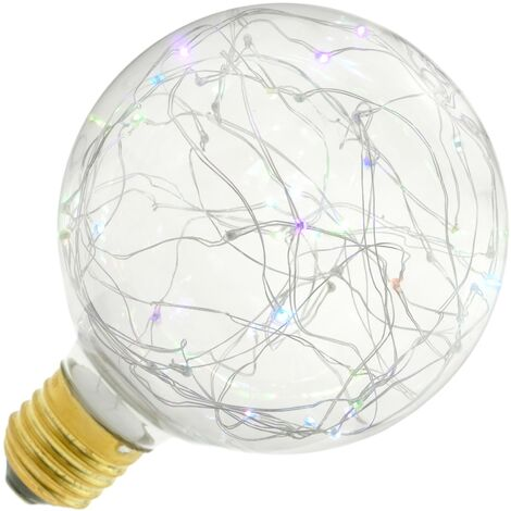 BeMatik - Bombilla LED fantasía G95 1.4W luz RGB