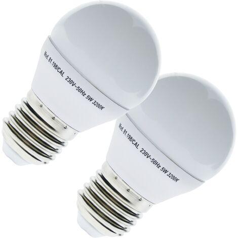 BeMatik - Bombilla LED G45 E27 230VAC 5W luz cálida 2 pack