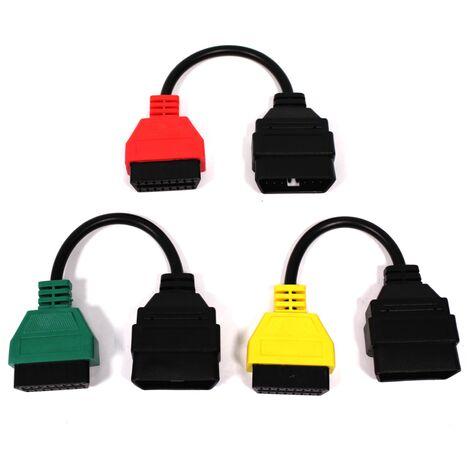 BeMatik - Cable adaptador de conector OBD II a Fiat Alfa-Romeo para FiatECUscan kit 3 cables