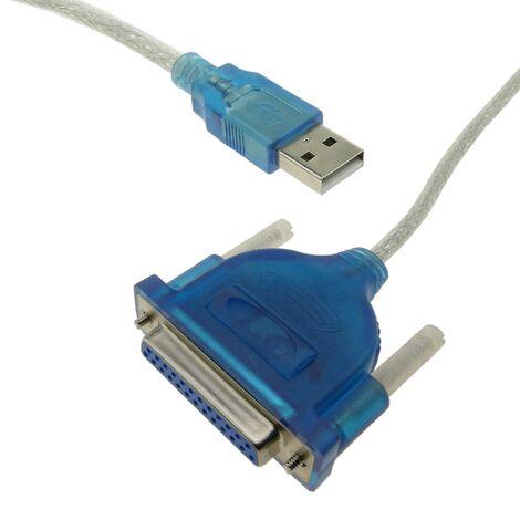 BeMatik - Cable conversor de USB a puerto paralelo A macho a DB25 hembra 1.5 m