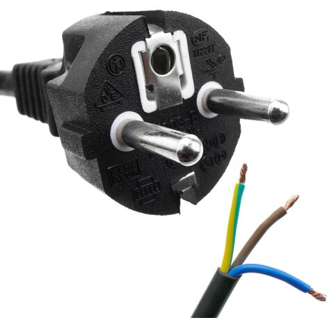 BeMatik - Câble d'alimentation H05VV-F 1.8m straight schuko à ouvert 3x1.50mm²