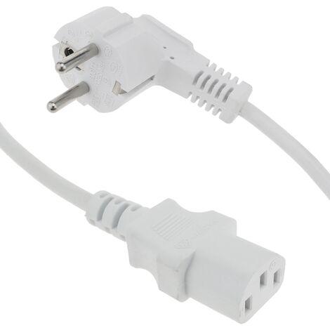 "main image of ""BeMatik - Câble d'alimentation IEC-60320 blanc C13 Schuko male 5 m"""