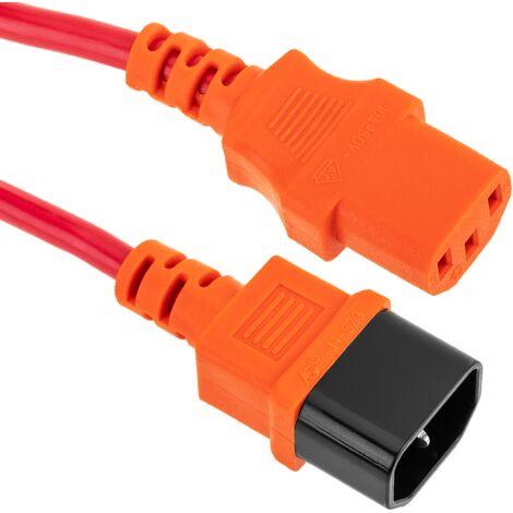 BeMatik - Câble d'alimentation IEC60320 C13 à C14 rouge 5m