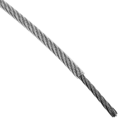 BeMatik - Cable de acero inoxidable de 2,0 mm. Bobina de 25 m. Recubierto de plástico transparente