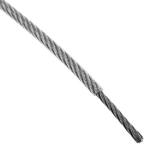 Recubierto de pl/ástico Transparente BeMatik Cable de Acero Inoxidable de 2,0 mm Bobina de 50 m