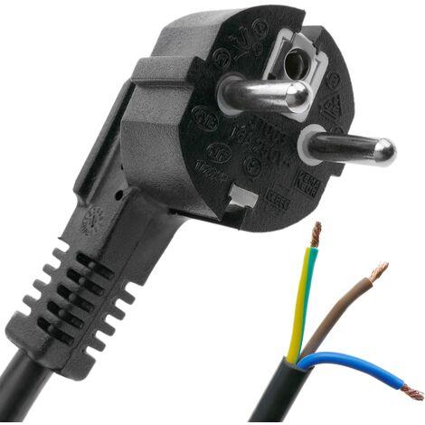 BeMatik - Cable de alimentación eléctrico H05VV-F 3m de enchufe schuko a bornes 3x1.50mm²
