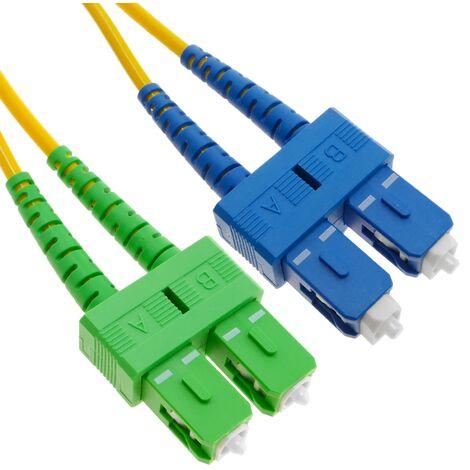 BeMatik - Cable de fibra óptica SC/UPC a SC/APC monomodo duplex 9/125 de 10 m OS2