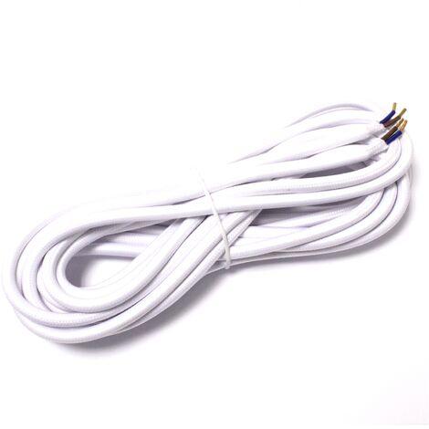 BeMatik - Cable eléctrico decorativo de tela 5m 2x0.75mm de color blanco