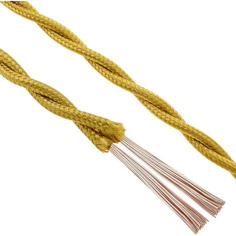 BeMatik - Cable eléctrico decorativo trenzado 25m 2x0.75mm de color dorado