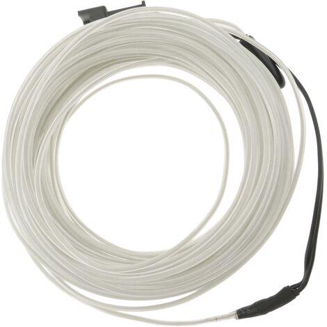 BeMatik - Cable electroluminiscente transparente-blanco de 5mm en bobina 10m de cable conectada a 220VAC