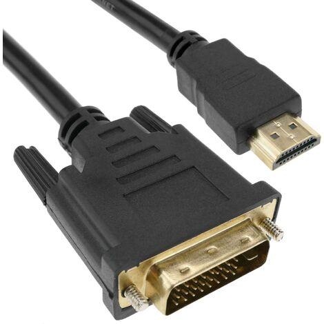 BeMatik - Cable HDMI de tipo HDMI-A macho a DVI-D macho de 3 m