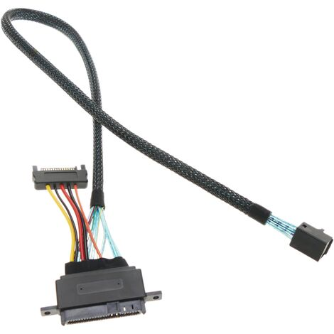 BeMatik - Cable MiniSAS HD SFF-8643 to U.2 SFF-8639 with power SATA 15pin 50cm
