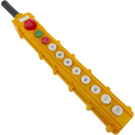 BeMatik - Caja de 2+2+2+2 pulsadores momentaneos y 2 conmutador y parada de emergencia de la serie COB
