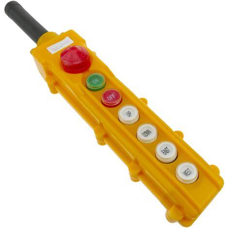 BeMatik - Caja de 2+2 pulsadores momentaneos y 2 conmutador y parada de emergencia de la serie COB