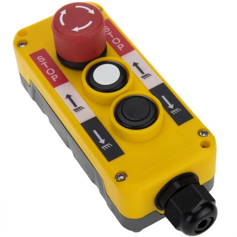 BeMatik - Caja de 2 pulsadores momentáneos y parada de emergencia de la serie LAY5 62x78x187mm