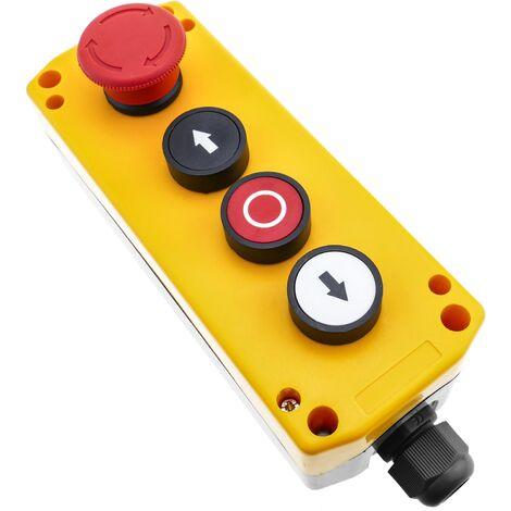 BeMatik - Caja de 3 pulsadores momentaneos y parada de emergencia de la serie LAY5