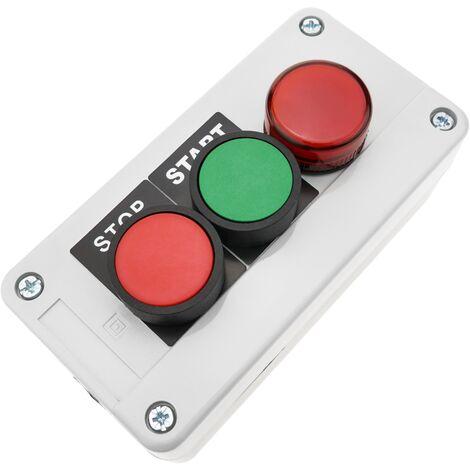 BeMatik - Caja de control con 2 pulsadores momentaneos verde 1NO rojo 1NC con luz piloto
