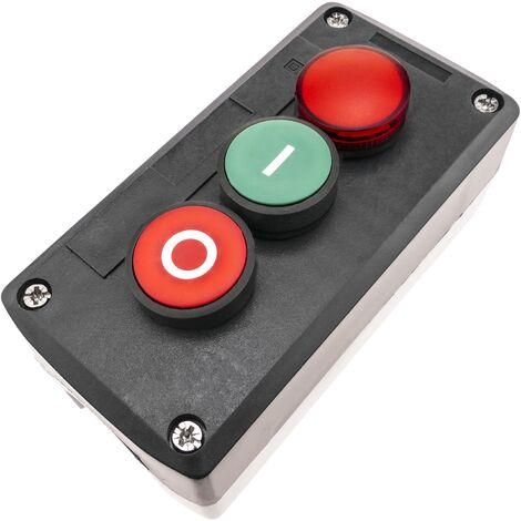 BeMatik - Caja de control con 2 pulsadores momentáneos verde 1NO rojo 1NC con luz piloto y símbolos