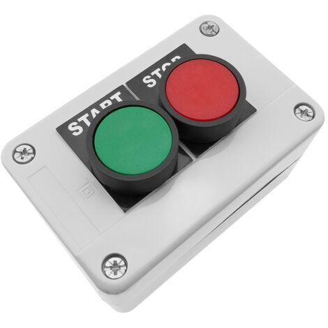 BeMatik - Caja de control con 2 pulsadores momentaneos verde 1NO rojo 1NC START