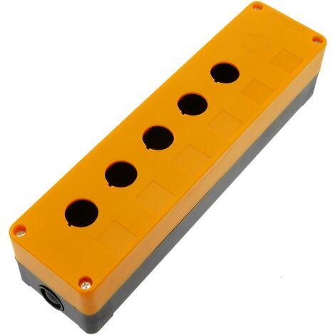 BeMatik - Caja de control de dispositivos eléctricos para 5+1 pulsador o interruptor de 22 mm amarillo