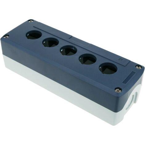 BeMatik - Caja de control de dispositivos eléctricos para 5 pulsadores o interruptores de 22 mm gris