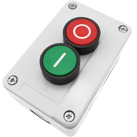 BeMatik - Caja de control gris/blanco con 2 pulsadores momentáneos verde 1NO rojo 1NC con símbolos