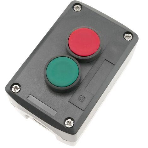 BeMatik - Caja de control gris/negro con 2 pulsadores momentáneos verde 1NO rojo 1NC