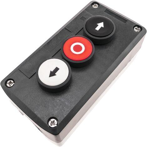 BeMatik - Caja de control negra con 3 pulsadores momentáneos con flechas 2NO y parada 1NC