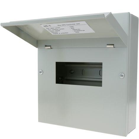 BeMatik - Caja de distribución eléctrica de 6 módulos 17.5 mm IP40 para superficie de metal SPN