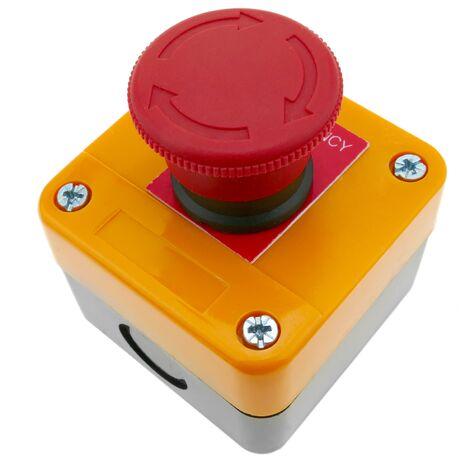 BeMatik - Caja de pulsador de parada de emergencia con bloqueo NC 22mm