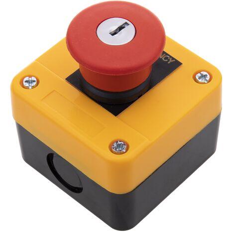 BeMatik - Caja de pulsador de parada de emergencia con llave NC