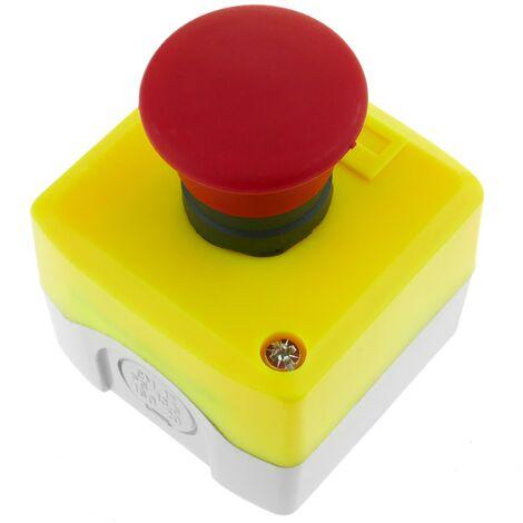 BeMatik - Caja de pulsador momentaneo de emergencia sin bloqueo NC