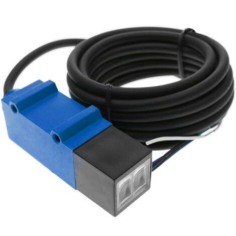 BeMatik - Cellule photoélectrique capteur interrupteur commutateur NPN NO+NC 10-30VDC 2m rétroréfléchissant