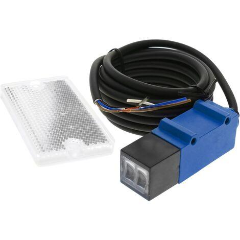 BeMatik - Cellule photoélectrique capteur interrupteur commutateur PNP NO+NC 10-30VDC 2m rétroréfléchissant