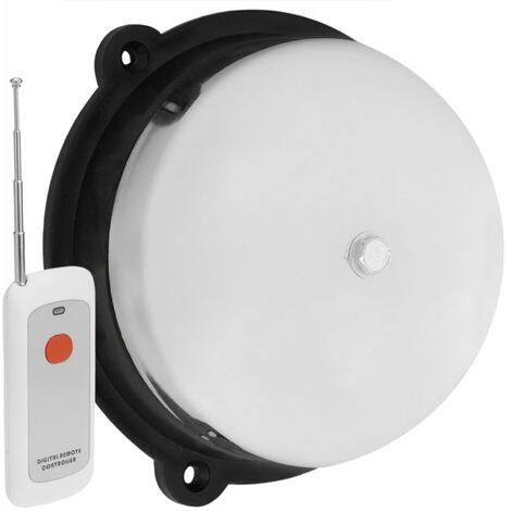 BeMatik - Chromed bell wireless electric bell 150 mm for alarm 95 dB