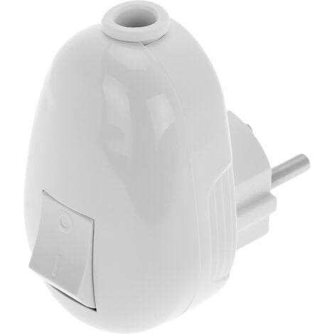 BeMatik - Clavija schuko en ángulo color blanco y con interruptor