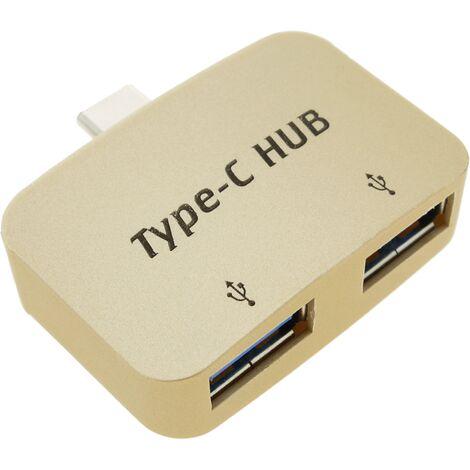BeMatik - Concentrador hub OTG USB 2.0 USB tipo C a 2 puertos USB tipo A
