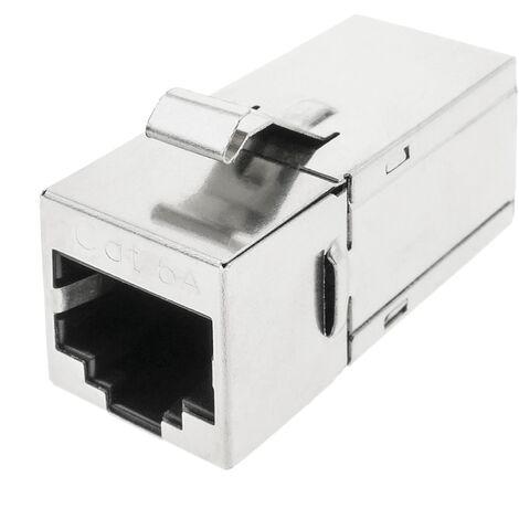 BeMatik - Conector keystone RJ45 hembra a RJ45 hembra Cat.6A FTP compacto metálico